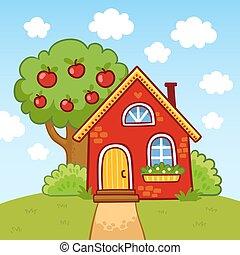 站立, 房子, 其次, 樹。, 小山, 小, 蘋果