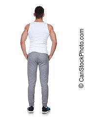 站立, 手, 口袋, 健身, 人, 后部的見解