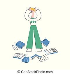站立, 文件, 圍繞, 散布, 插圖, 勞累過度, 紙, 矢量, floor., 人