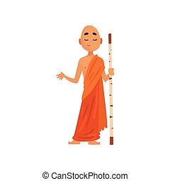 站立, 木制, 佛教徒, 字, 僧侶, 插圖, 卡通, 矢量, 棍, 背景, 橙, 白色, 長袍