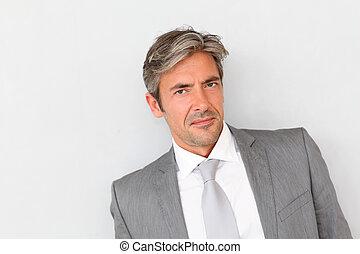 站立, 灰色, 背景, 肖像, 商人, 漂亮