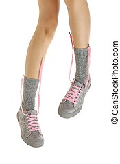 站立, 腿, 運動鞋