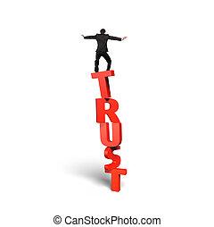站立, 詞, 垂直, 平衡, 信任, 紅色, 人