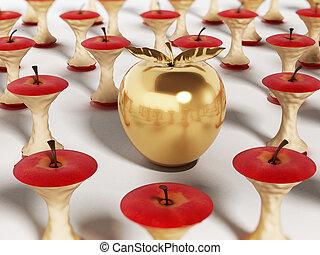站立, 金色的蘋果, 插圖, 吃, 在外, cores., 3d