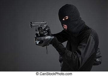 站立, 電筒, 人, 被隔离, 槍, 當時, 黑色, balaclava, 瞄准, 邊, criminal., 看法