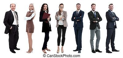 站立, row., 商業界人士, 組, 成功