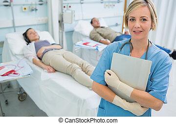 站立, transfused, 病人, 護士, 其次
