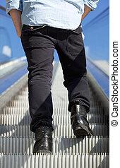 站, 人, 角度, 自动楼梯, 低