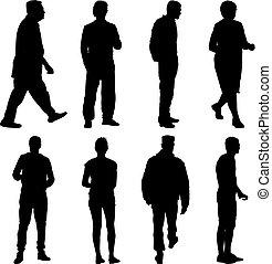 站, 侧面影象, 人们, 团体, 黑色, 各种各样, 形成