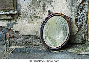 站, 再一次, 老, 镜子