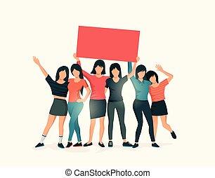 站, 团体, , 一起, 签署, 握住, 妇女