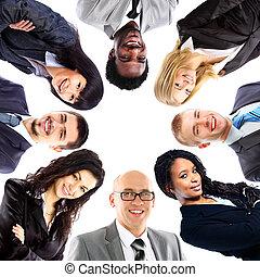 站, 团体, 商业, 挤作一团, 人们, 微笑, 低的角度观点