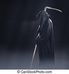 站, 大镰刀, 死亡, 雾, 夜晚