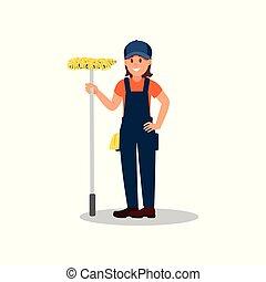 站, 套间, 妇女, service., 工作, 公司, 年轻, 快乐, mop., 矢量, 设计, 打扫, 女孩, 色彩丰富, uniform.