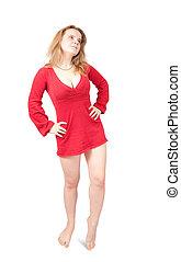 站, 女孩, 短, 衣服, 红