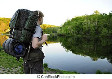 站, 徒步旅行者, 青少年, 湖, 日出