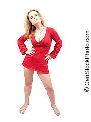 站, 性感, 女孩, 衣服, 红
