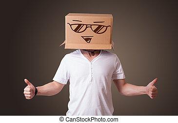 站, 盒子, 头, 他的, smiley, 年轻, 脸, 纸板, 姿态, 人