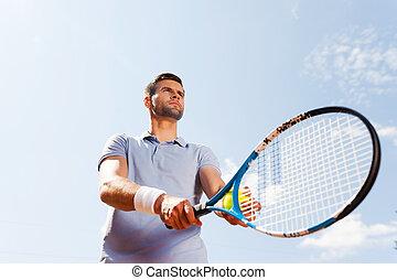站, 蓝的球, 角度, 衬衫, 网球, 天空, 年轻, 对, 准备好, 当时, serve., 低, 握住, 察看, 球拍, 人, 马球, 漂亮