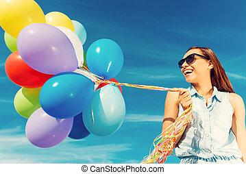 站, 蓝色, 妇女, 角度, 色彩丰富, 天空, 年轻, 对, 当时, 低, 握住, 逃脱, 微笑, 气球, 快乐, reality., 察看