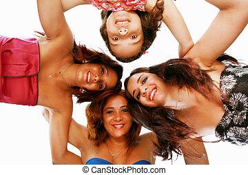 站, ange, 团体, 挤作一团, 微笑, 低, 观点。, 妇女, 开心