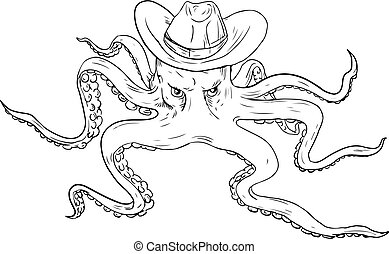 章魚, 帽子, 圖畫, 牛仔, 穿