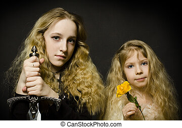 童話, -, 公主, 以及, the, 戰士, 臉, 特寫鏡頭