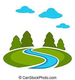 端, の, 森林, ∥で∥, 緑の採草地, と青, 川