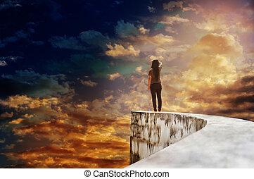 端, 空, の上, 死んだ, 高く, 方法, 広大, 女性