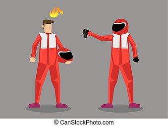 競争相手, 自動車, イラスト, 下方に, レーサー, ベクトル, 親指, 漫画