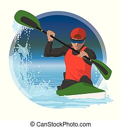 競争, マレ, 円, カヤックを漕ぐ, 背景, 水, ボーダー
