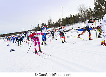 競争, 国, スキー, 交差点