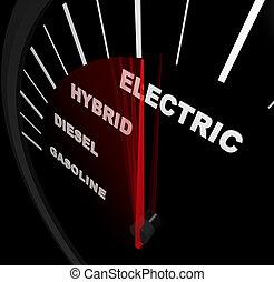 競争, -, 源, によって, 燃料, 選択肢, 速度計