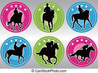 競争, 馬, シルエット, ゲーム