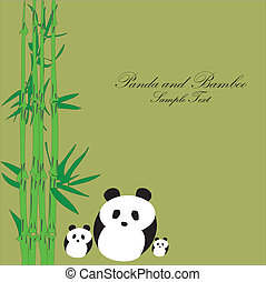 竹, パンダ, 背景