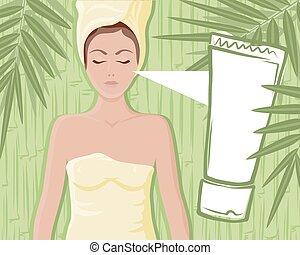 竹, 女の子, マッサージのクリーム