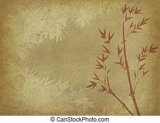 竹, 絵, o, 中国語, インク