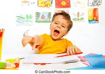 笑い, 男の子, 図画, ∥で∥, 鉛筆, 上に, ∥, ペーパー