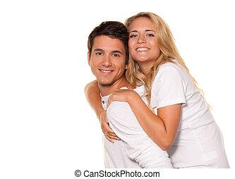 笑, 年輕夫婦, 獲得 樂趣, 以及, joy.