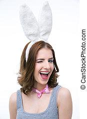 笑, 年輕婦女, 在, 兔子耳朵, 眨眼, 在上方, 白色, backgorund