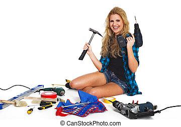 笑, 年輕婦女, 由于, 工具