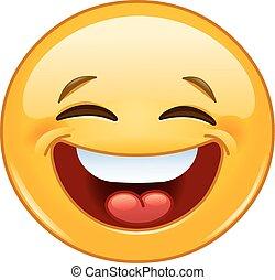 笑, 由于, 關閉眼睛, emoticon.eps