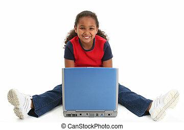 笔记本电脑, 女孩, 孩子