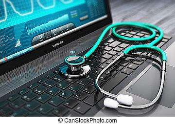 笔记本电脑, 带, 医学, 诊断, 软件, 同时,, 听诊器