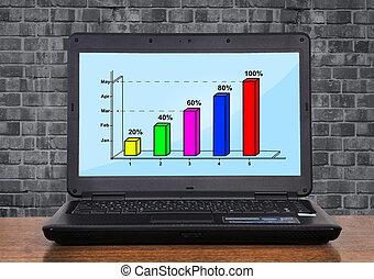 笔记本电脑, 带, 图表, 利润