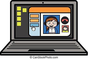 笔记本电脑, -, 描述, 叫, 厨师, 矢量, 视频, retro, 女性, 卡通漫画, 女服务员