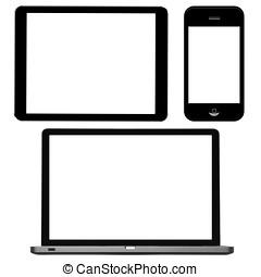 笔记本电脑, 数字牌子, 同时,, 电话, 带, 空白, 屏幕