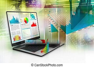 笔记本电脑, 显示, a, 金融的报告
