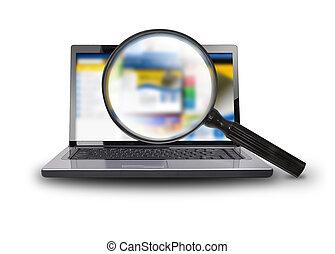 笔记本电脑, comput, 搜寻, 因特网