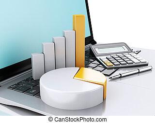 笔记本电脑, graph., 图表, 3d